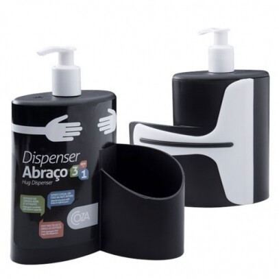 Dispenser Abraço 600ml Preto Coza 19,7x8,5x16,6cm
